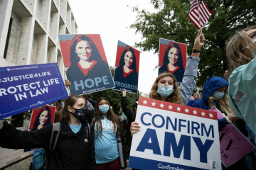 Cover image of rally for Amy Coney Barrett
